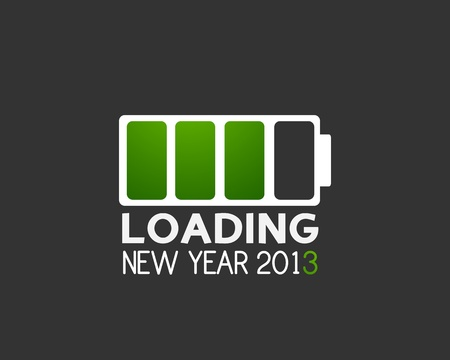2013 new year battery charge icon Stock Vector - 16431064