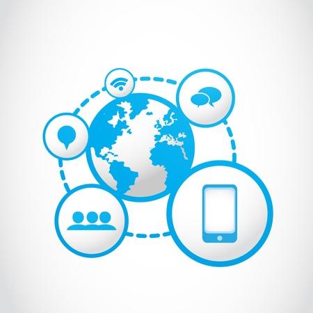 global networking: global smartphone social media concept