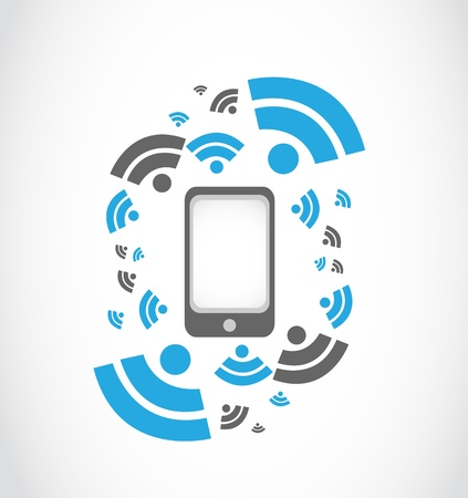 wireless network mobil phone Vector