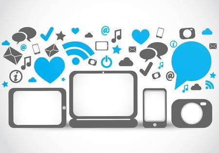 mobil: social media-verbinding hulpprogramma's Stock Illustratie