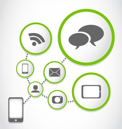 mobil: mobil telefoon applicaties proces groep Stock Illustratie