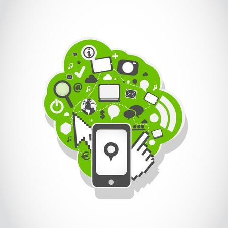 mobil: mobil phone social media icons