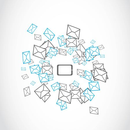 sms icon: tablet message mailing concept Illustration