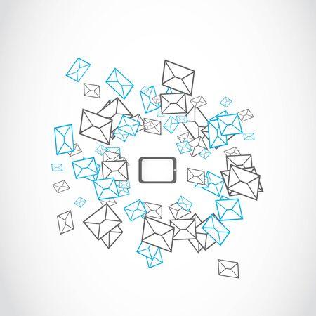 mailing: tablet message mailing concept Illustration