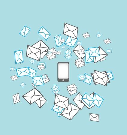 mobil: mobil telefoon messaging service concept