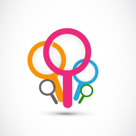 colorful magnifying glass group Stock Vector - 17296509