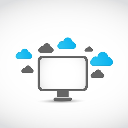 lcd monitor cloud computing concept Stock Vector - 17296465