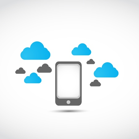 smartphone cloud computing concept Stock Vector - 17296460