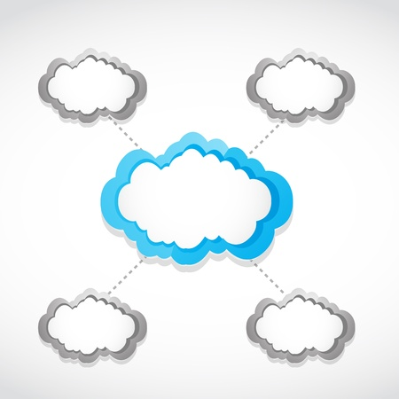 multimedia background: cloud computing networking concept Illustration