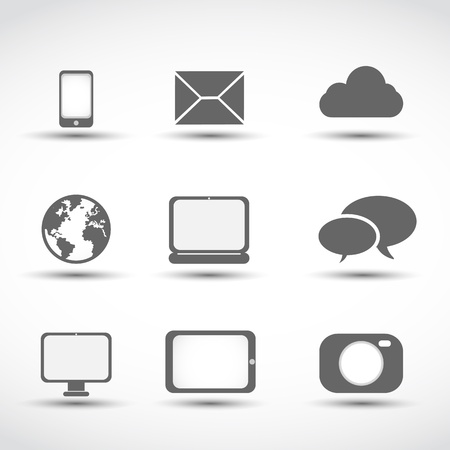 communication media icons Vector