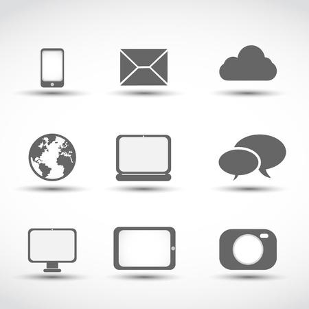 communication media icons Stock Vector - 17296500
