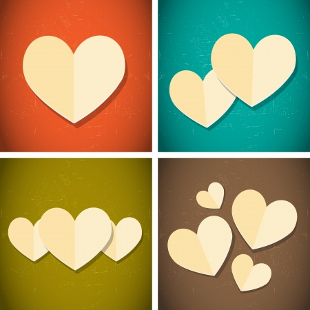 grunge heart: retro vintage style paper hearts Illustration