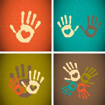 impronte di mani: retrò epoca amore impronte di mani di stile