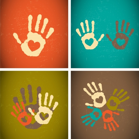 retro vintage style love handprints Vector
