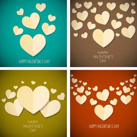 retro vintage happy valentine s day background set Vector