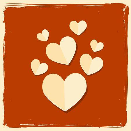 vintage love paper hearts Stock Vector - 17570364