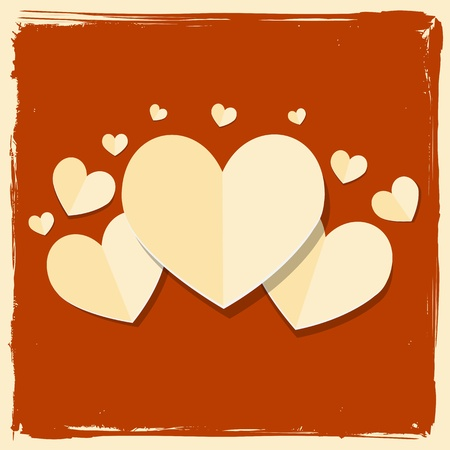 vintage paper heart valentine day card Stock Vector - 17570365