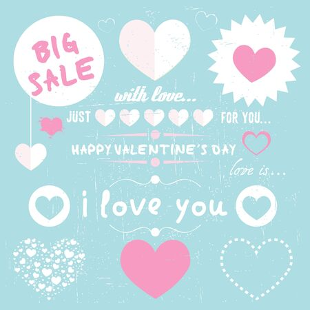 set of happy valentine s day love hearts Stock Vector - 17570369
