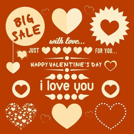 vintage valentine s day elements set Stock Vector - 17570374
