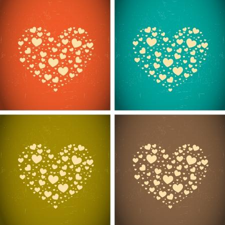 corazones azules: grandes corazones hechos de peque�os corazones Vectores
