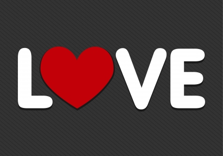 love word with heart icon Vector