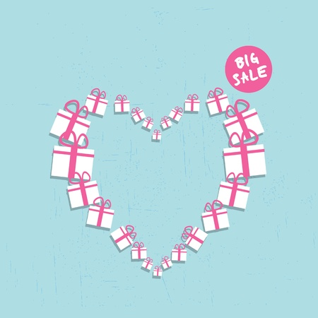 red gift box: shopping heart big sale concept