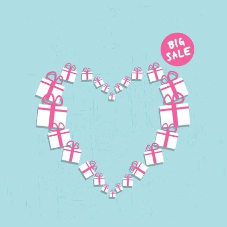 big boxes: shopping heart big sale concept