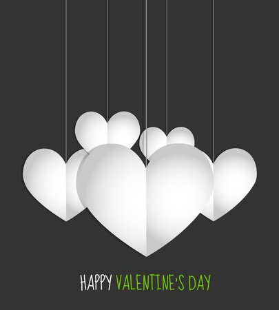 valentine s day hanging paper hearts Stock Vector - 17665690