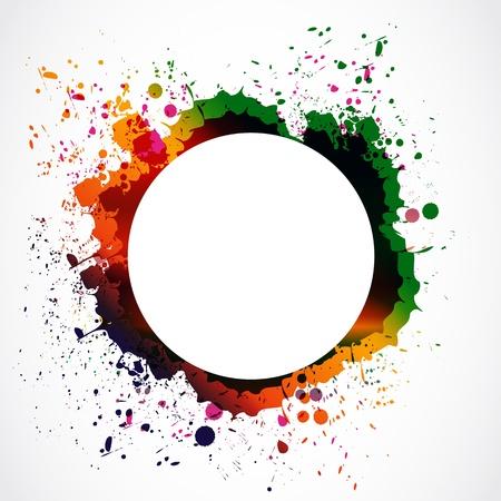 ink drops: colorful grunge ink splash circle Illustration