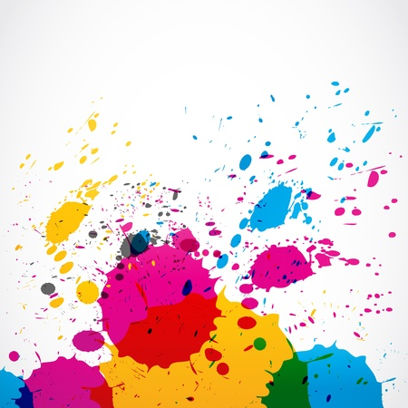 dripping paint: colorful grunge splash paint Illustration