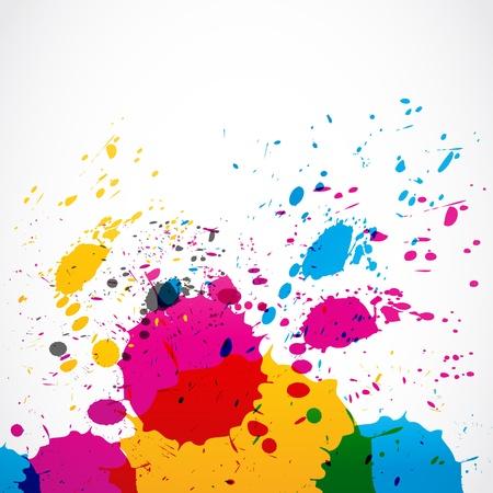 splash color: schizzi di vernice colorata grunge Vettoriali