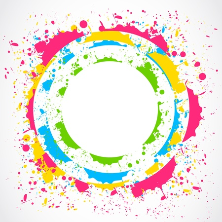 カラフルな塗料スプラッシュ円
