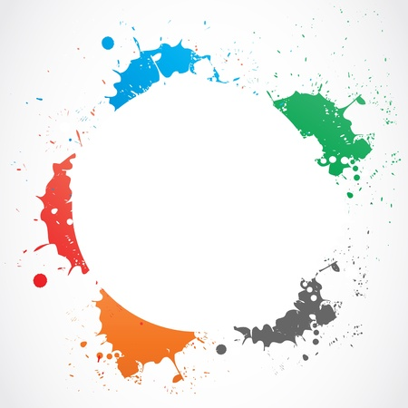 colorful grunge splash circle Stock Vector - 18135399