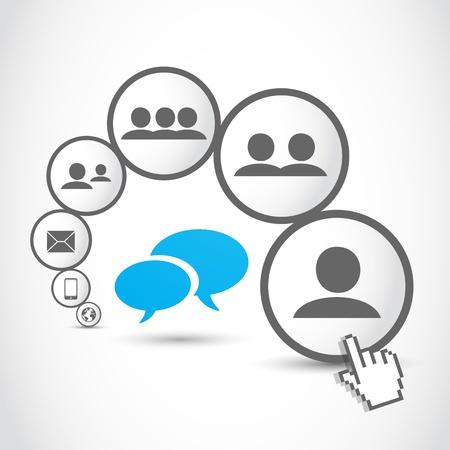 social media communication process Stock Vector - 18135395