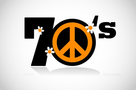 peace symbol seventies Vector
