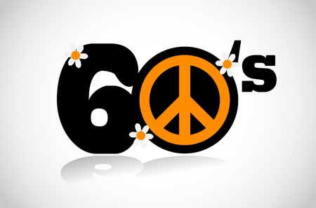 60s hippie: sixties peace symbol
