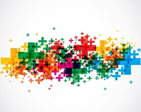 signos matematicos: diseño abstracto colorido signos más Vectores