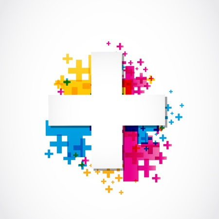 positive plus sign concept colorful Stock Vector - 18150251