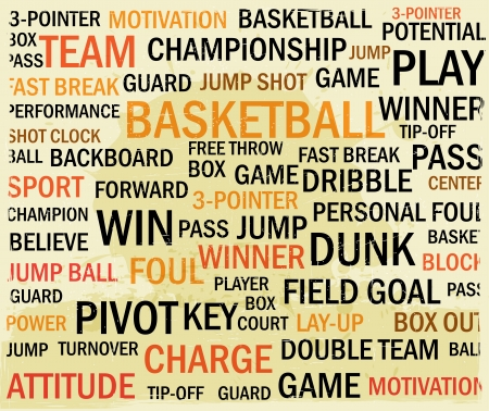 sports event: grunge basketball word cloud Illustration