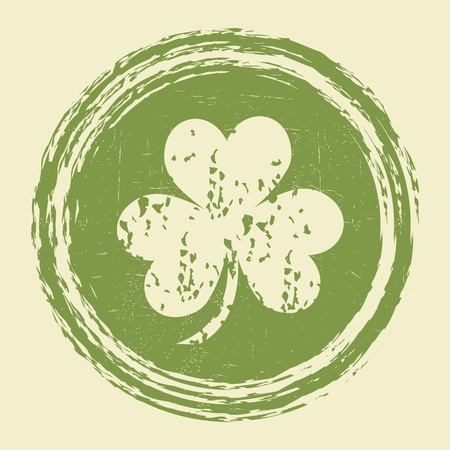 irish culture: grunge clover leaf stamp
