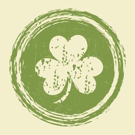 irland�s: grunge sello de la hoja del tr�bol
