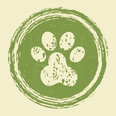 paw print: grunge huella de la pata