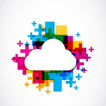 抽象的なカラフルな肯定的な雲  イラスト・ベクター素材