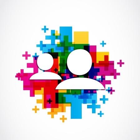 social media concept: add friend social media concept Illustration
