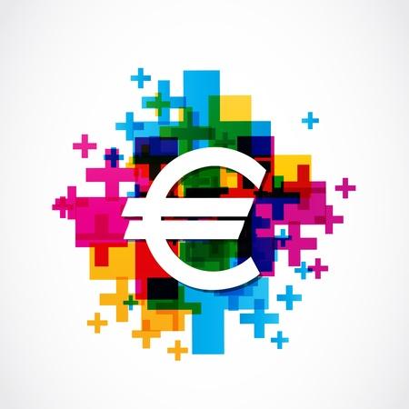 colorful euro sign Illustration