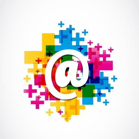 contact icon: Kleurrijke Positieve Email Ontwerp Stock Illustratie