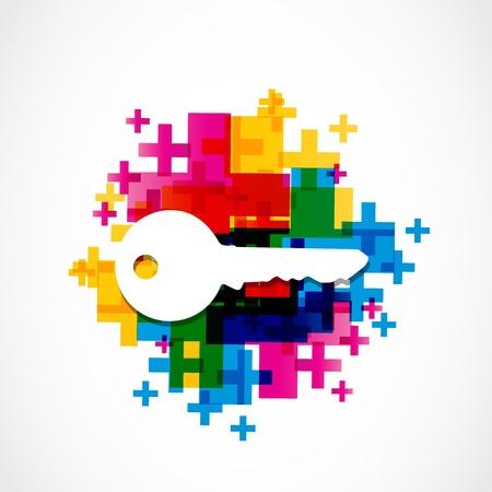 llaves: casa colorida fondo clave