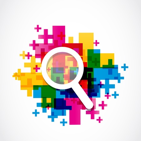 detective: abstract colorful zoom in icon