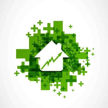 house prices: House prices rising positive business concept