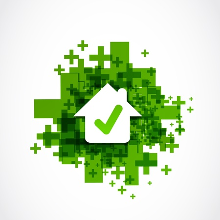 addition symbol: approved house good choice Illustration